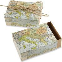 "Kate Aspen ""Around the World"" Map Favor Box, Set of 24"