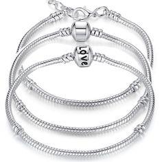 5 Style Silver Plated LOVE Snake Chain Bracelet & Bangle 16CM-21CM Pulseras Lobster PA1104