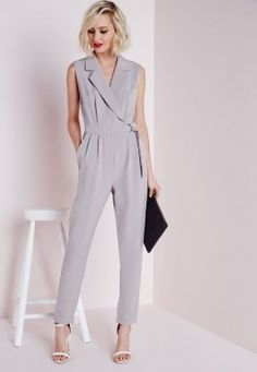 Petite D-Ring Sleeveless Jumpsuit Grey