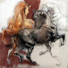 I horses dancing - French artist Jean-Louis Sauvat Painted Horses, Horse Drawings, Animal Drawings, Arte Equina, Horse Anatomy, Horse Artwork, Equine Art, Western Art, Animal Paintings