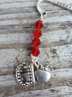 Red Vampire Fang Apple Beaded Charm Dangle Bookmark by StoneCharms