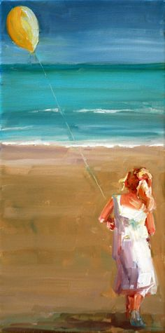 Beautiful light- i love her beach scenes with children~ Carol Carmichael Paints