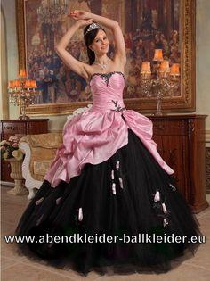 Rosa Schwarzes Sissi Kleid Ballkleid Abendkleid mit Tüll und Stick