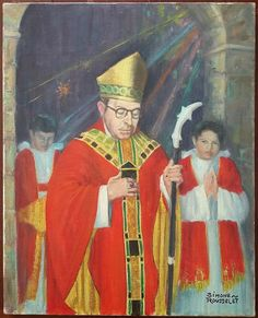 The bishop of Carcassonne, Simone Rousselet.  Religious painting of a former bishop of Carcassonne (south of France) for a Service.  Oil on canvas, twentieth time, signed lower right.  In good condition (see photos).  Format: 6 Figure (6F) standard that is to say 41 cm x 33 cm (16.1 in x 13.0 in).