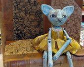 Art doll Magdalena paperclay cat doll