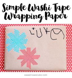 Simple Washi Tape Wrapping Paper at Sweet Rose Studio | This is PERFECT for Christmas and other holiday gift giving!