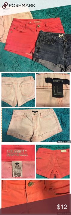 Bullhead, celebrity Pink, and forever 21 shorts. Bullhead jean shorts size 3, forever 21 light pink shorts size 27, and Celebrity Pink hot pink shorts size 3. All waists measure 14.5 inches. Pre owned condition. See pics. Bullhead Shorts Jean Shorts