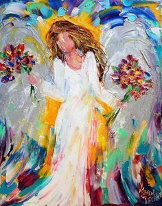 Original oil painting #Angel and Flowers palette by Karensfineart