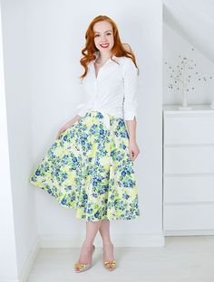 floral skirt and knotted white shirt
