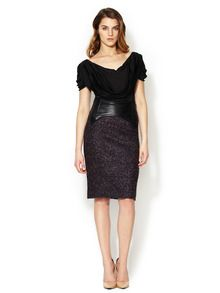 Leather Contrast Boucle Skirt by Zac Posen at Gilt