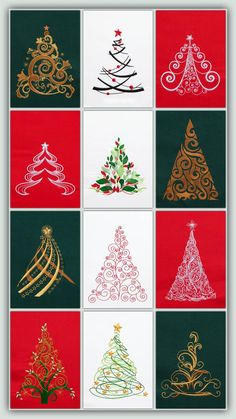 BFC-Creations Machine Embroidery Designs Festive, fast stitching trees for all kinds of projects! Make a quilt, a pillow, decorate a shirt, ring them around a skirt, make Christmas cards - anything you want to add a little Christmas. These trees are perfect for adding lots of bling: crystals, beads or glitter.