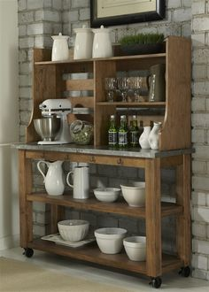 Liberty Furniture Keaton Serving Table & Satted Hutch Set with Casters - Pilgrim Furniture City - Baker's Rack Kitchen Furniture, Kitchen Dining, Kitchen Decor, Kitchen Ideas, Wolf Furniture, Furniture Mattress, Kitchen Hutch, Kitchen Wood, Wooden Furniture