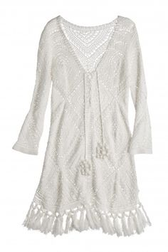 048142425e Perfa Hand Crochet Cotton Tunic Dress