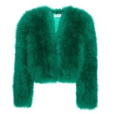 Saint Laurent Feather Jacket ❤ liked on Polyvore featuring outerwear, jackets, yves saint laurent, green jacket and feather jacket