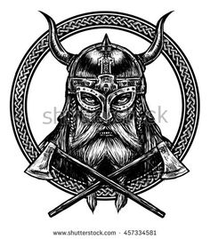 Ancient viking head  in a ring with scandinavian ornament logo for mascot…