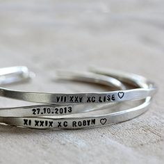 Personalized silver bracelet sterling silver cuff by Praxis Jewelry