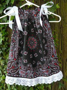 Black/ Red Bandana Pillowcase Dress/ Tunic/ Skirt Toddler Girl Black w/ Red Eyelet Lace Ruffle- Ready to Ship