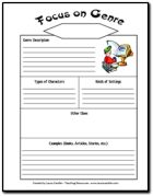Free Focus on Genre printable - Duplicate several copies for each student to place in a reading log. As you introduce each genre (perhaps one per week), students fill out the sections of the Focus on Genre form.