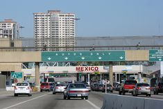 Mexico border at San Diego, USA and Tijuana, Mexico. Think that's heavy traffic? You should see it from the other side looking at the entrance to the USA!! Hours, possibly 4+ wait time. Park in the USA, walk in through the turnstiles, and come back out through Customs and Border inside the building. MUCH FASTER and SAFER. No need to get a temp mexican insurance either. HAVE FUN!
