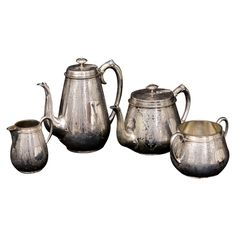 Antique English Silver-Plated Four-PieceTea Set , Monogrammed By T.