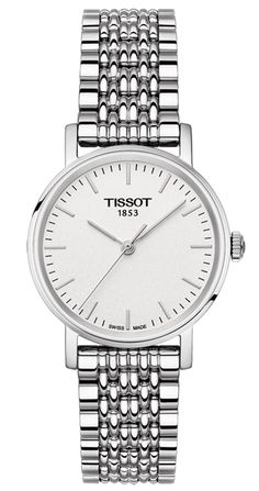 Tissot Ladies Everytime Quartz Watch with Silver Dial and 316L Stainless Steel Bracelet