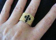 Peyote stitch Cross design Ring cross ring . Award by EsBello, $16.00