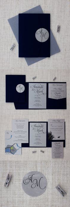 Navy Blue & Silver Pocketfold Wedding Invitation - These navy blue and silver invitations feature a deep navy blue pocketfold and are printed onto metallic silver card.