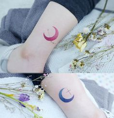 Top 10 tattoo. Watercolor moon + Cassiopeia constellation