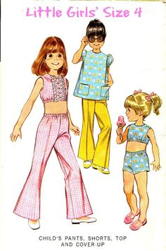 Child/'s Sleeveless Crop Top with Lace ~ 1960/'s
