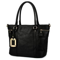 UTO Women Tote Bag PU Leather Handbag Large Capacity Shoulder Bags Black * You can get more details by clicking on the image. #Handbags