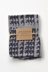 Image of Triangles Tea Towel in Indigo over-dyed with oak galls