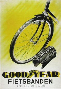 Indonesian Old Commercials:Good Year bicycle wheels - Made in Buitenzorg Bogor… Vintage Advertising Posters, Vintage Advertisements, Vintage Ads, Vintage Posters, Retro Ads, Bicycle Clock, Velo Retro, Cigarette Brands, Old Commercials
