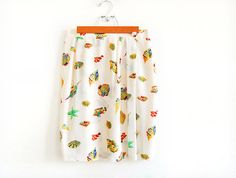 Vintage SILK Wrap Skirt with Aquarium Illustrations by AmprisLoves