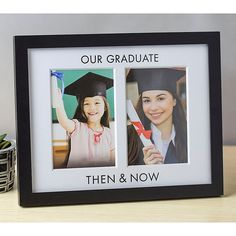 """Pearhead """"our Graduate Then & Now"""" 2-Photo Graduation Frame In Black - Pearhead's """"Our Graduate Then & Now"""" Graduation Frame is a sentimental way to showcase 2 pictures of your new graduate. The 2 openings accommodate a photo of your little one as a child and one of them on graduation day. Graduation Party Ideas High School, Graduation Photo Displays, Graduation Picture Frames, Outdoor Graduation Parties, Graduation Party Planning, Graduation Open Houses, College Graduation Gifts, Graduation Celebration, Graduation Party Decor"""
