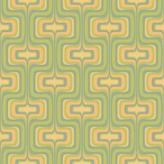 Greens and yellows mingle together to give any room a groovy, energetic vibe in Bradbury & Bradbury's retro Mellotron home wallpaper in Ginchy Green. 60s Wallpaper, Modern Wallpaper, Fabric Wallpaper, Pattern Wallpaper, Green Wallpaper, 1960s Interior Design, Mid Century Modern Art, Retro Pattern, Fabric Patterns