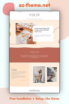 Sarah is a chic and feminine WordPress theme that is beautifully designed and packed with features. With its sophisticated design and endless customization options. Perfect choice for online businesses, creatives, bloggers, and influencers looking to level up their online brand.