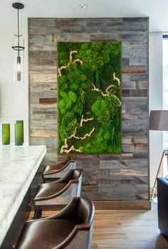 Union West - Studio R Interior Design Moss Wall Art, Moss Art, Artificial Plant Wall, Vertical Garden Wall, Green Wall Art, Nature Decor, Garden Art, Interior Design, Create