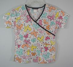 Cassandra O Scrub Top White with Multi-Color Butterflies Nursing Medical Small #CassandraO