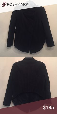 BCBG Faux Suede Jacket BCBG Faux Suede Black Jacket with Cropped back. Hidden Buttons up the front BCBG Jackets & Coats