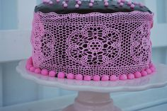 """Passion 4 baking  """"Pink Sugar Veil Lace Cake (Layer of Devil's Food Cake ~ Layer of Raspberry Mousse ~ Layer of Angel Food Cake ~ Layer of Chocolate Mousse ~ 2nd layer of Devil's Food Cake ~ Ice Cake, top & sides with Marzipan/fondant ~ Pour  Chocolate Ganache Glaze over the marzipan/fondant ~ Place Sugar Veil over the glaze).  ~~  Includes Video Tutorial of how to make and use Sugar Veil Lace."""