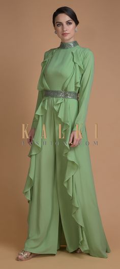Bud green jumpsuit in crepe with sequins and cut dana work on the neck. Designed sleeveless with high neckline and back zip. Pakistani Wedding Dresses, Indian Dresses, Indian Outfits, Colored Wedding Dresses, Bridal Dresses, Wedding Colors, Color Combinations For Clothes, Salwar Designs, Matches Fashion