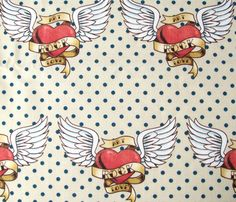 Tattoo Heart with Wings and Scroll custom fabric by risarocksit for sale on Spoonflower Rockabilly Tattoo Designs, Rockabilly Art, Dainty Tattoos, Mom Tattoos, Ed Hardy Tattoos, Heart With Wings Tattoo, Custom Fabric, New Art, Spoonflower