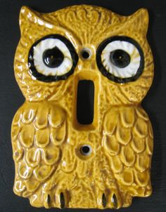 vintage wise old owl ceramic light switch cover by Enesco. $8.00, via Etsy.