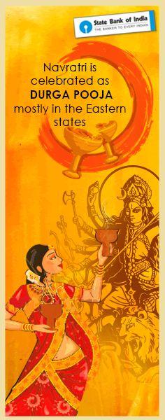 Durga Puja celebrates the victory of Goddess Durga over the  evil  Mahishasura. Also celebrated as Durgotsav, Durga Puja is the year's biggest celebration in West Bengal and parts of Eastern states of India #Navratri2016 #SBIFestiveFervour #DurgaPuja #Pujo #MaaDurga #Durgotsav #NavratriColours #ColourDay5 #NavratriFacts