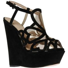 KG by Kurt Geiger Kutie Cut-out Suede Wedged Platform Sandals, Black (120 AUD) ❤ liked on Polyvore featuring shoes, sandals, wedges, heels, zapatos, platform wedge sandals, black wedge sandals, flat sandals, platform sandals and low platform sandals