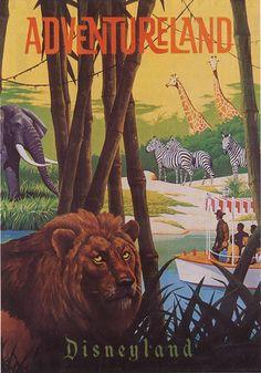 MAGNET Travel Poster Photo Magnet ADVENTURELAND Disneyland Lion Zebras Giraffes