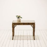 Wicker and Rattan Coffee Table | Bohemian Table | Glass Top Coffee Table l Birch & Brass Vintage Rentals | Weddings and Corporate Events | Austin, Texas