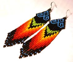 Beaded rainbow Native American Earrings