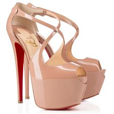 Christian Louboutin Shoes | Christian Louboutin Exagona Beige Leather Platform | Color: Red | Size: 41 Eu (11 Us)