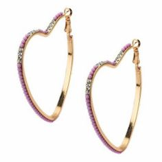 Lavender Beaded Heart Hoop Earrings